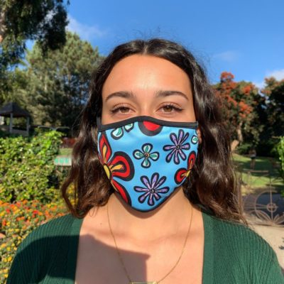Light blue floral face mask