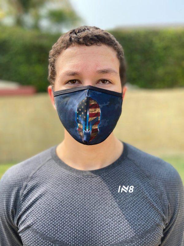 Spartan Blue face mask